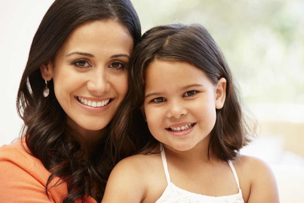 Hispanic mother and daughter